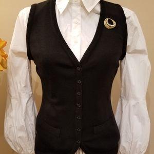 Anne Fontaine Black Wool Button Vest